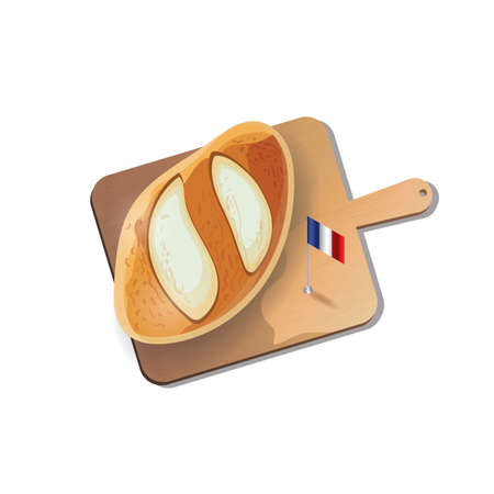 cutting: french bread with cutting board Illustration