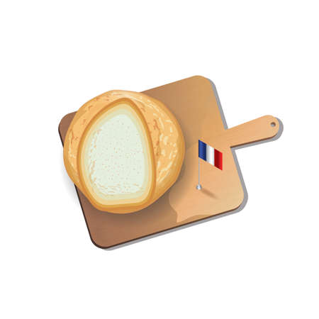 directly above: french bread with cutting board Illustration