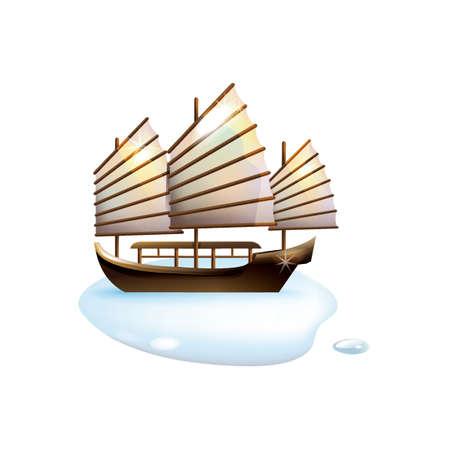 junk boat Stock Vector - 49725877