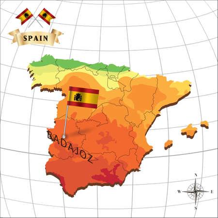 badajoz: map of spain with badajoz Illustration