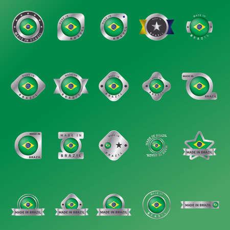 brazil flag: set of brazil flag labels