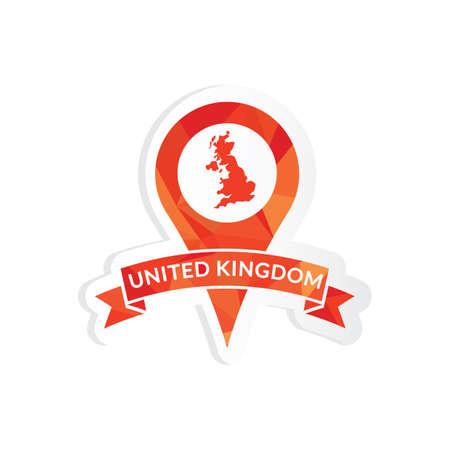 united kingdom: united kingdom map pointer sticker