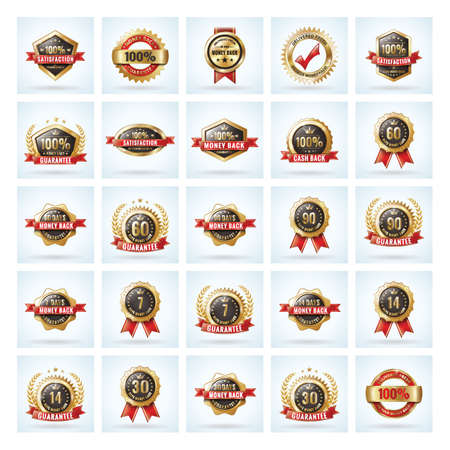 collection of money back guarantee badges 向量圖像