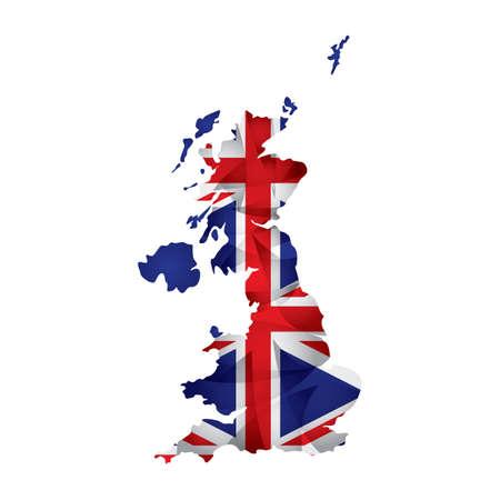 bandera uk: uk mapa de la bandera