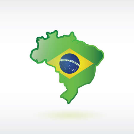brazil map: brazil map with flag