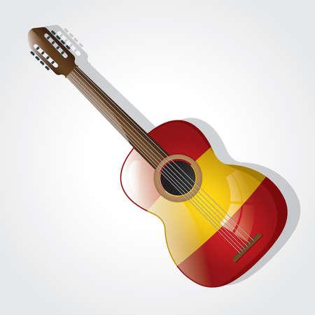 spain flag: spain flag on guitar