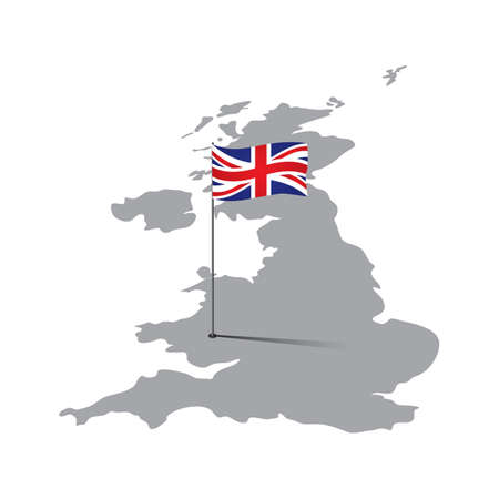 uk map: uk map with flag pole
