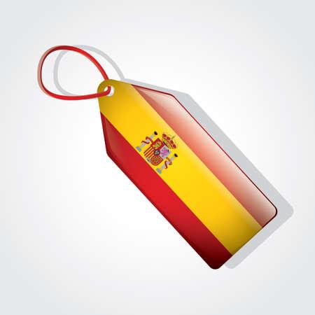 spain flag: spain flag on tag Illustration
