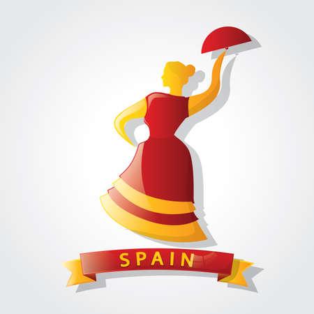 spain flag: spain flag on flamenco dancer