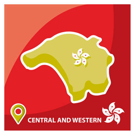 districts: central and western hong kong map Illustration
