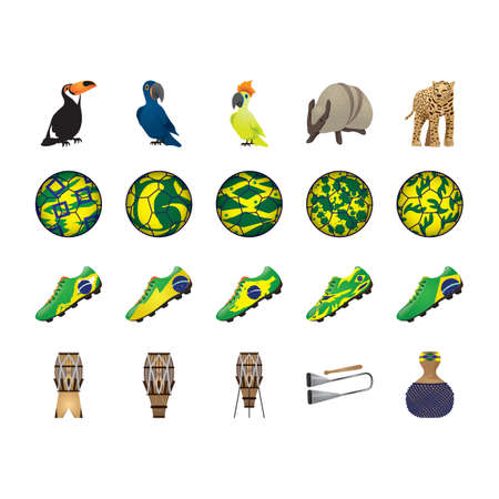 shekere: set of brazil icons Illustration
