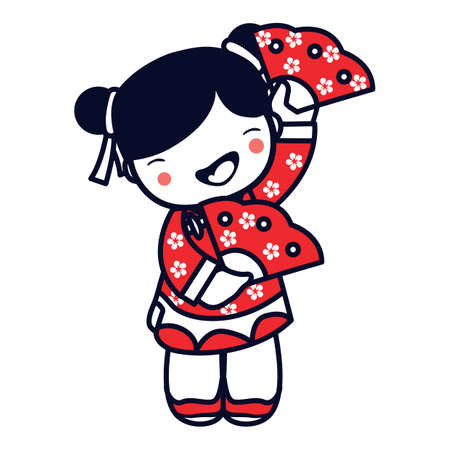 hand fan: chinese girl holding hand fan Illustration