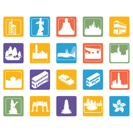 hong kong icons set