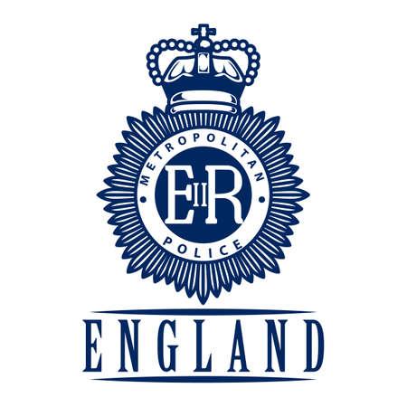 metropolitan: uk metropolitan police emblem label Illustration