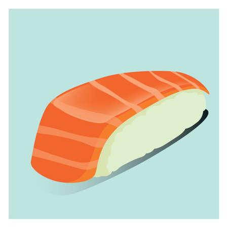 salmon nigiri sushi Illustration