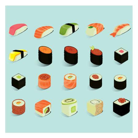 set of sushi rolls  イラスト・ベクター素材