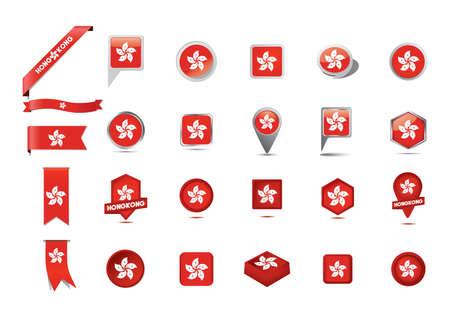 hongkong: collection of hong kong flag design