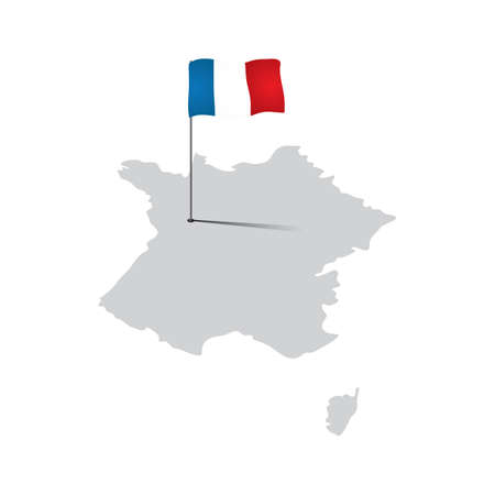 france map: france map with flag