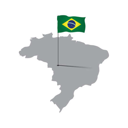 flag pole: brazil map with flag pole Illustration