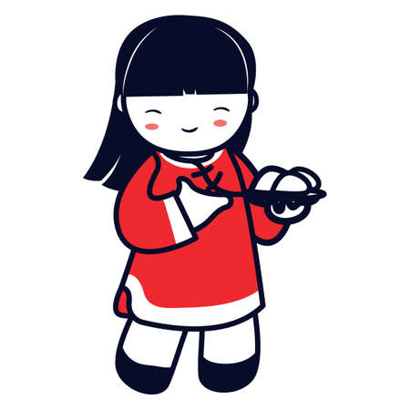 rice plate: chinese girl holding plate of rice balls Illustration