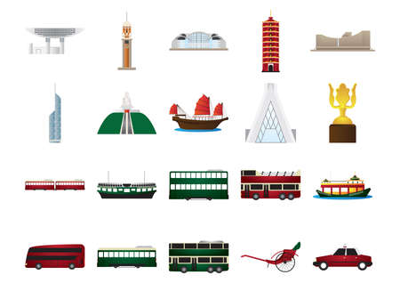 hong kong pictogrammen instellen Stock Illustratie