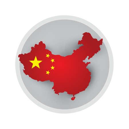 china flag: china flag map Illustration