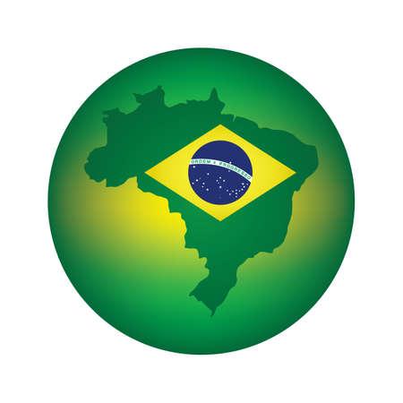 brazil flag: brazil flag map icon Illustration