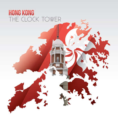 sha: double exposure of clock tower and hong kong map Illustration