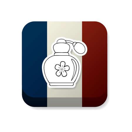 france flag: perfume bottle on france flag