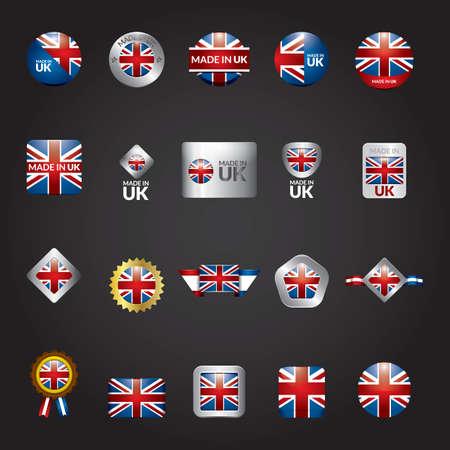 bandera reino unido: conjunto de iconos de bandera del Reino Unido Vectores