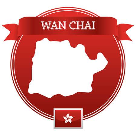 wan chai map Illusztráció