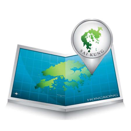indicating: navigation pointer indicating sai kung on hong kong map