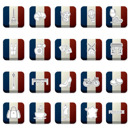 france flag: collection of france icons on france flag