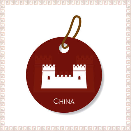 great wall of china: china tag Illustration