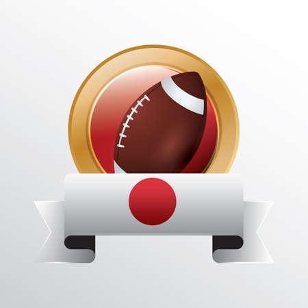 pelota rugby: bandera de Jap�n con pelota de rugby Vectores