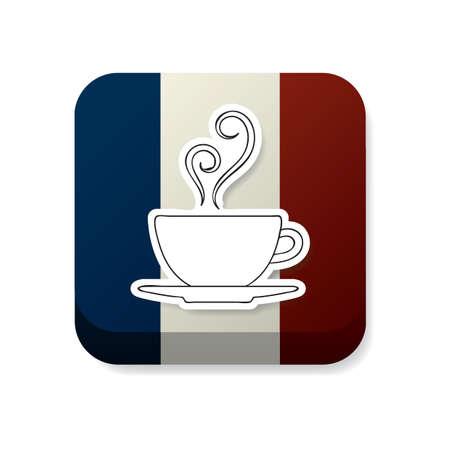 france flag: coffee cup on france flag