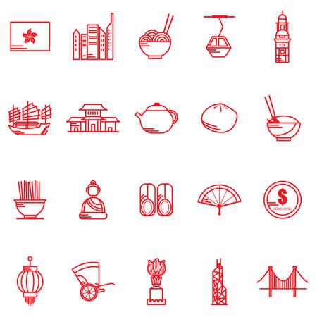 香港の一般的なアイコン  イラスト・ベクター素材