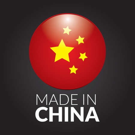 made in china: made in china flag label