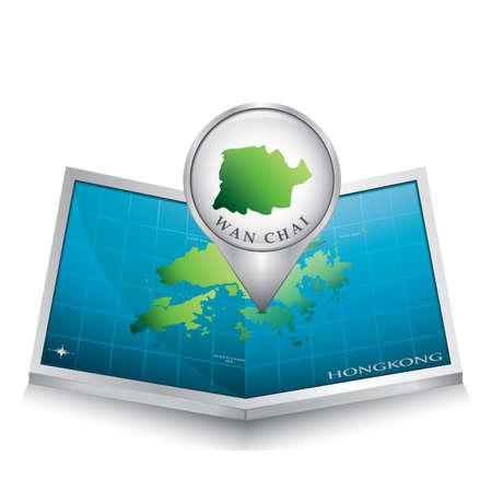 indicating: navigation pointer indicating wan chai on hong kong map