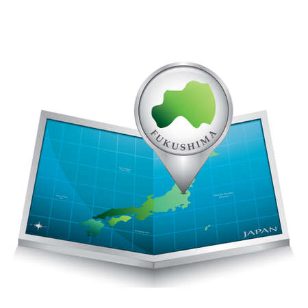 fukushima: map pointer indicating fukushima on japan paper map Illustration