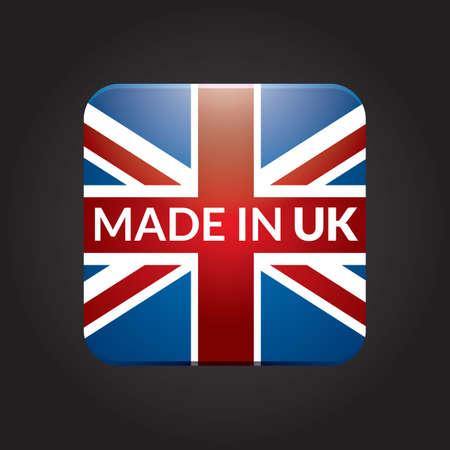 bandera uk: hecho en icono de la bandera del Reino Unido Vectores