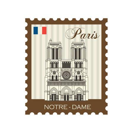 dame: notre dame stamp Illustration