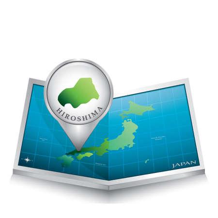 hiroshima: map pointer indicating hiroshima on japan paper map Illustration