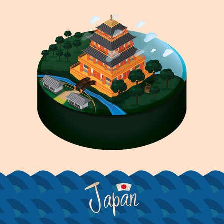 japanese garden: japan landscape Illustration
