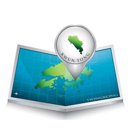 indicating: navigation pointer indicating kwun tong on hong kong map Illustration