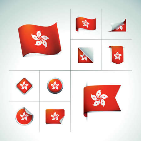 cut outs: hong kong flag stickers