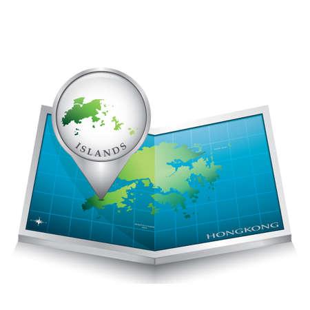 indicating: navigation pointer indicating islands on hong kong map