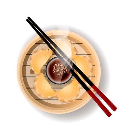 dipping: dim sum Illustration