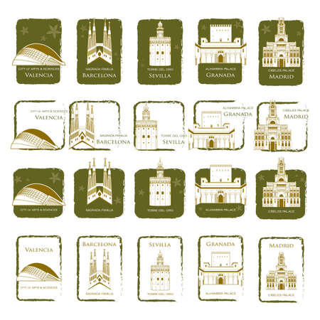 sagrada familia: collection of spain monuments Illustration
