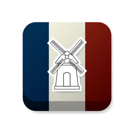 france flag: windmill on france flag Illustration